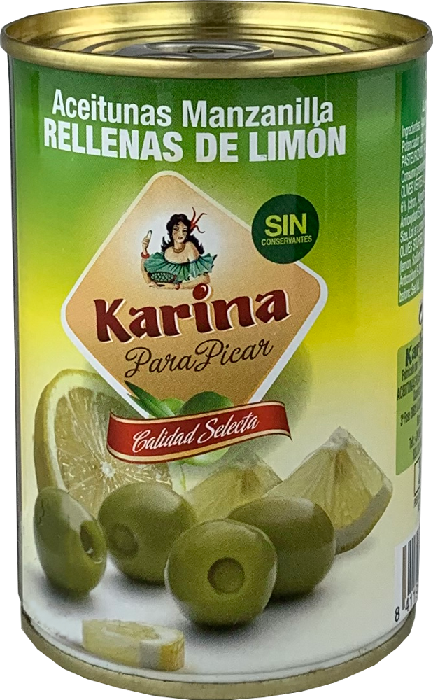Karina Grüne Manzanilla-Oliven gefüllt mit Zitronenpaste, Dose, 120g Abtropfgewicht