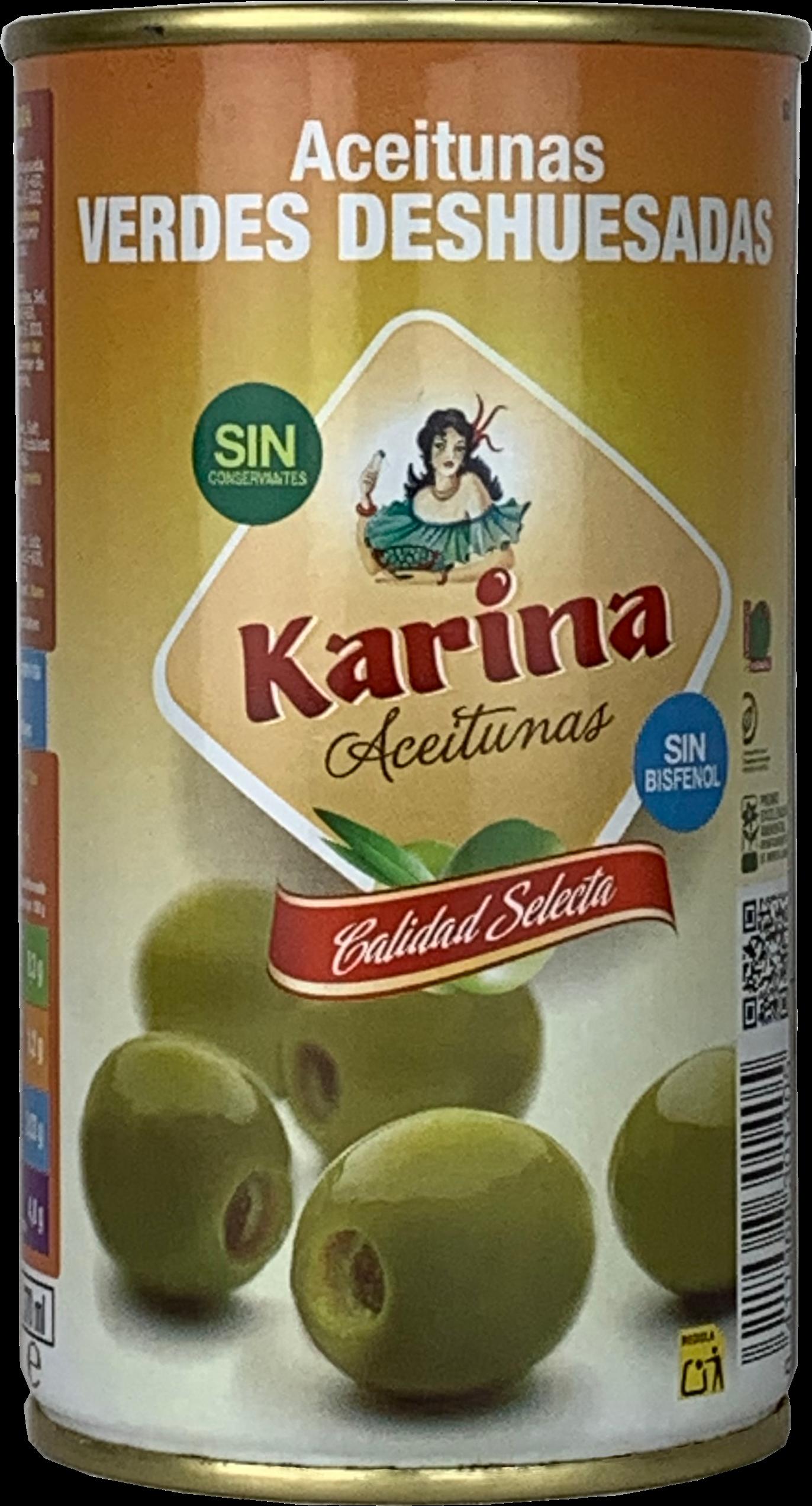 Karina Grüne Manzanilla-Oliven ohne Stein, Dose, 150g Abtropfgewicht
