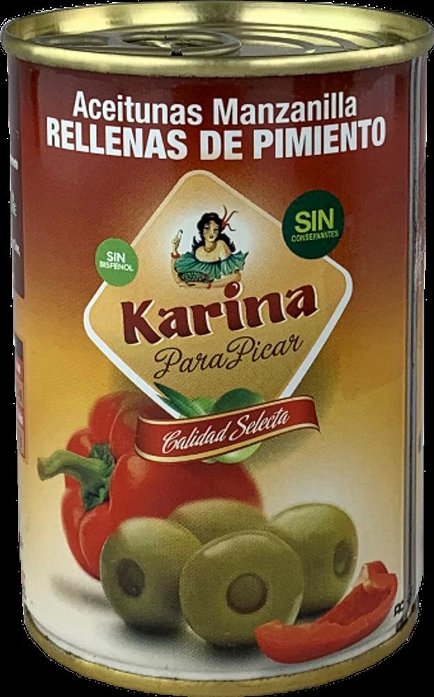 Karina Grüne Manzanilla-Oliven mit Paprikapaste, Dose, 120g Abtropfgewicht