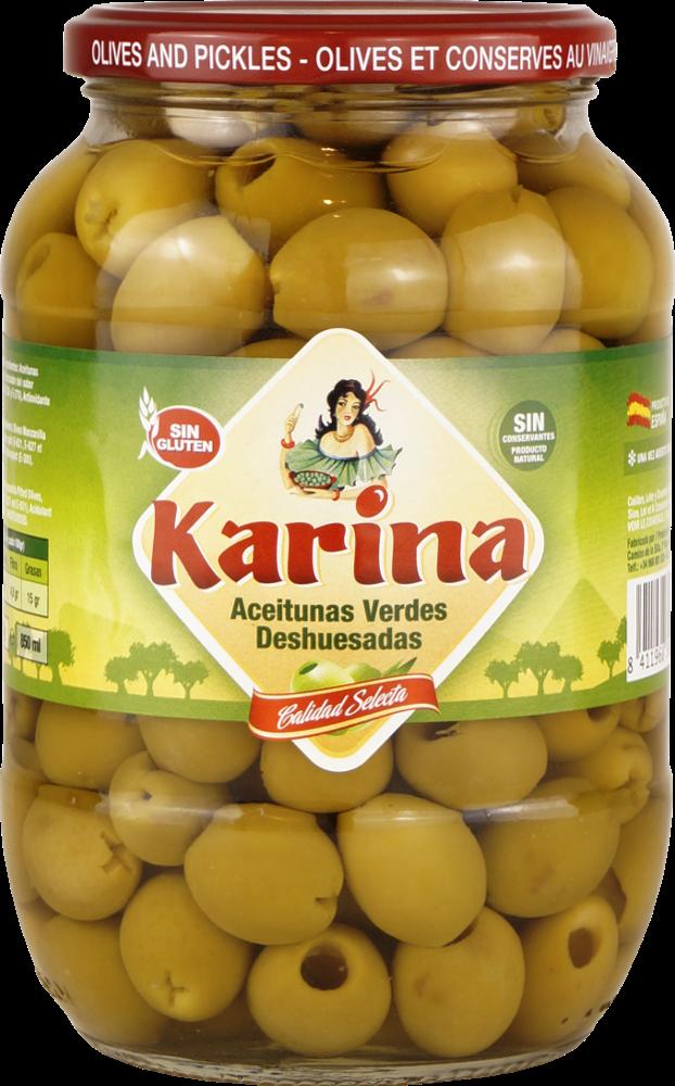 Karina Grüne Manzanilla-Oliven ohne Stein, Glas, 430g Abtropfgewicht