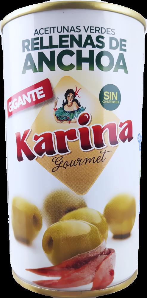 Karina Grüne Manzanilla-Oliven gefüllt mit Anchoa-Paste, Dose, 150g Abtropfgewicht
