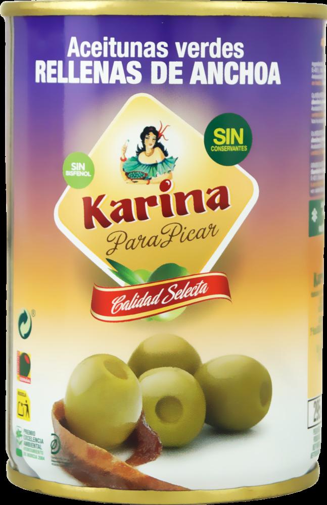 Karina Grüne Manzanilla-Oliven gefüllt mit Anchoa-Paste, Dose, 120g Abtropfgewicht