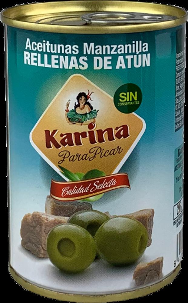 Karina Grüne Manzanilla-Oliven gefüllt mit Thunfischpaste, Dose 120 g Abtropfgewicht