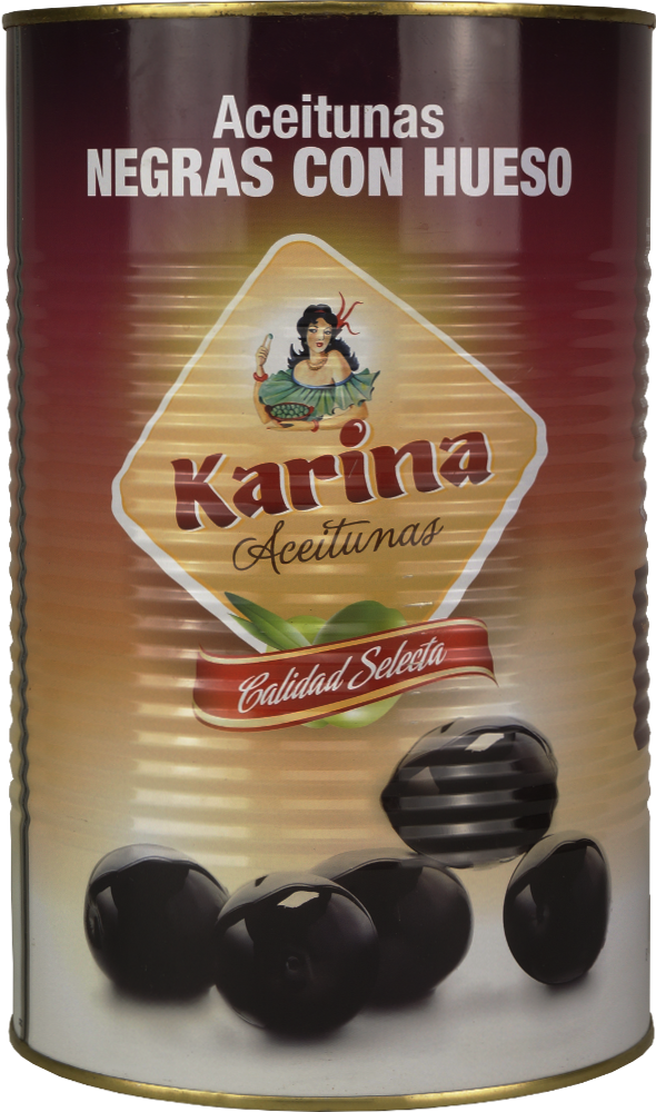 Karina Schwarze Oliven mit Stein, Dose, 2,5 kg Abtropfgewicht