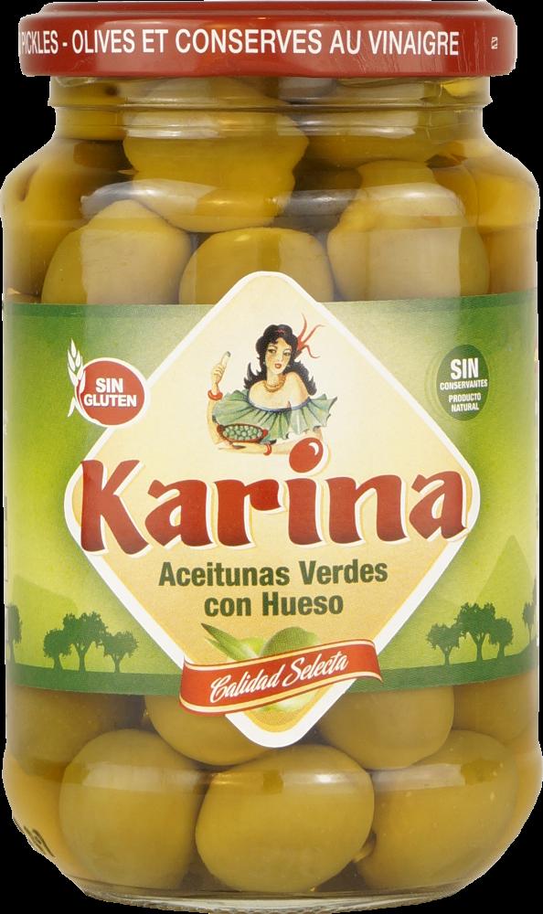 Karina Grüne Manzanilla-Oliven mit Stein, Glas, 200g Abtropfgewicht