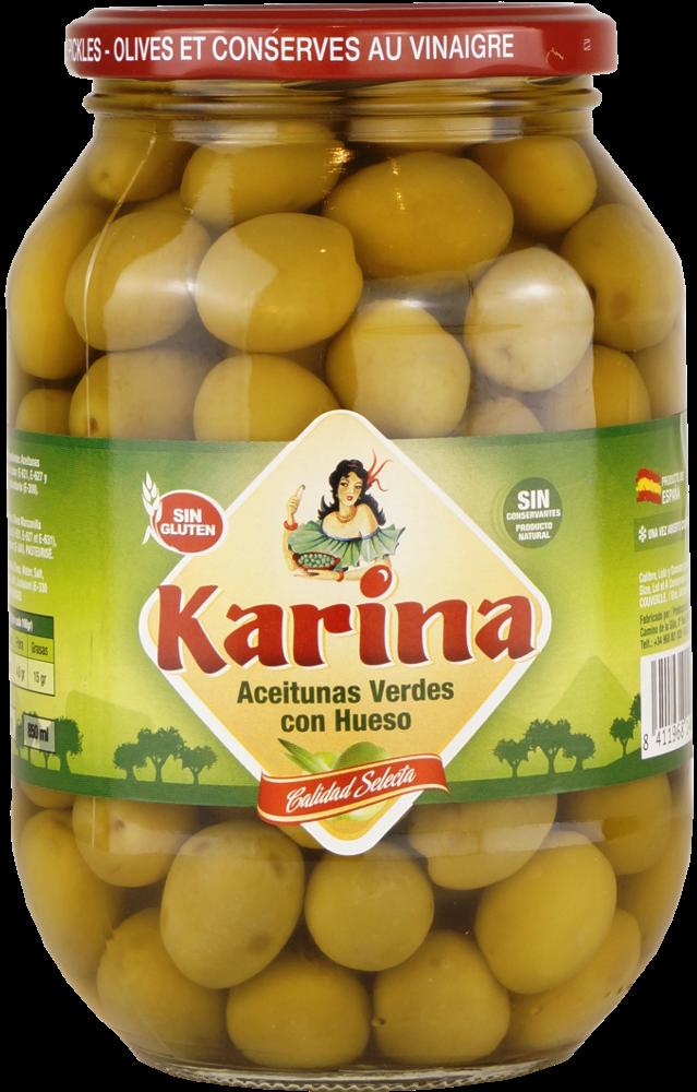 Karina Grüne Manzanilla-Oliven mit Stein, Glas 500g Abtropfgewicht