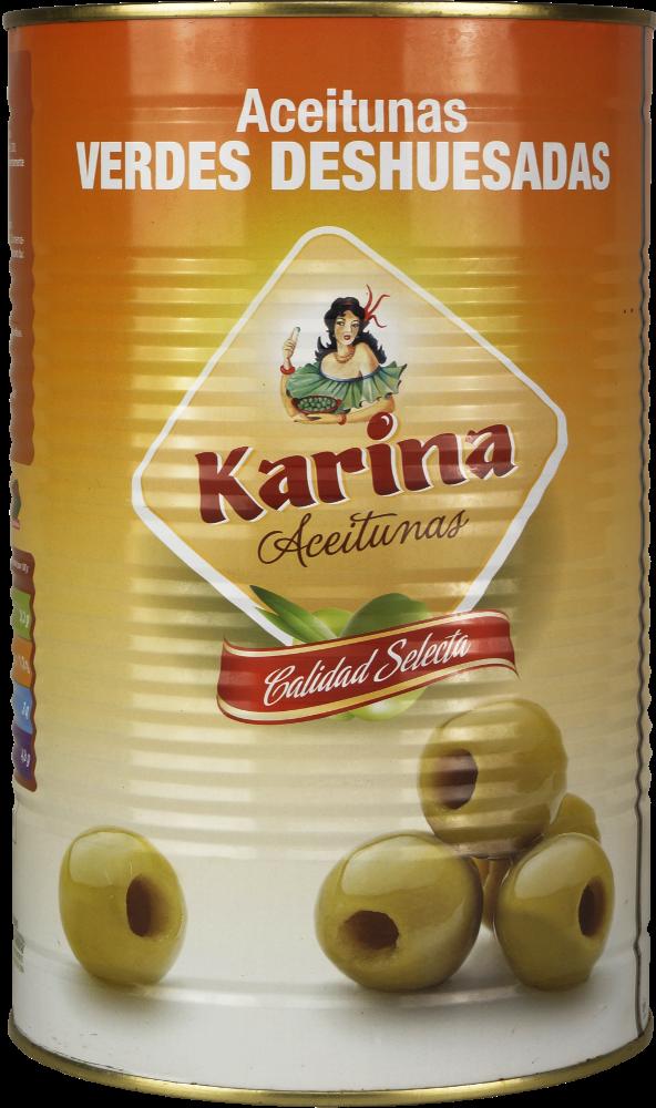 Karina Grüne Manzanilla-Oliven ohne Stein, Dose, 2kg Abtropfgewicht