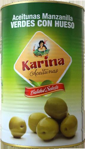 Karina Grüne Manzanilla-Oliven mit Stein, Dose, 2,5kg Abtropfgewicht