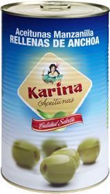 Karina Grüne Manzanilla-Oliven gefüllt mit Anchoa-Paste, Dose, 2,1kg Abtropfgewicht